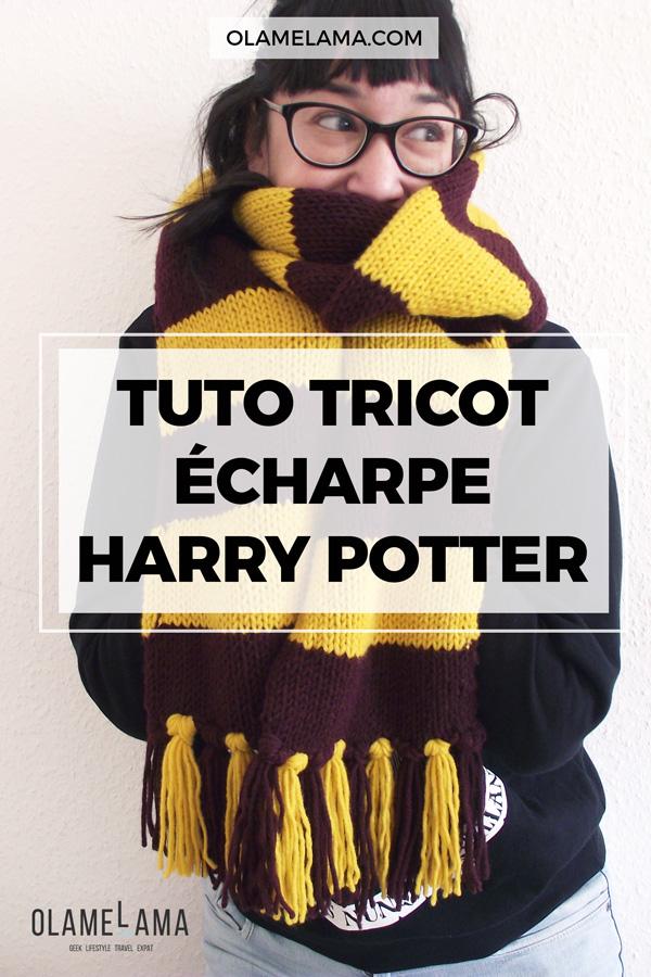 Tutoriel tricot - Faire sa propre écharpe Harry Potter Hogwarts avec aiguilles circulaires - Tricot débutant - Olamelama blog lifestyle