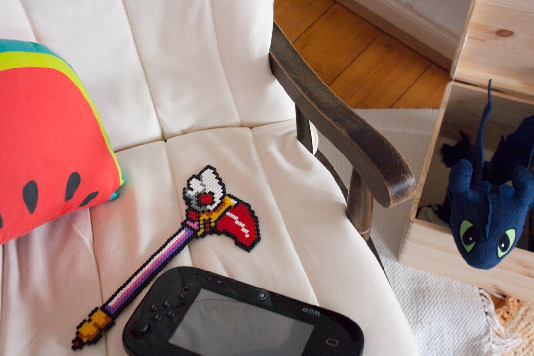 Header décoration geek avec bâton de Sakura et Wii U