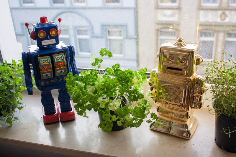 Robot bleu et robot doré, décoration geek