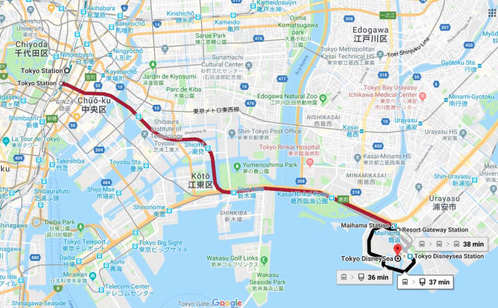Carte de Google Maps - Tokyo Train Station to Tokyo Disney Sea