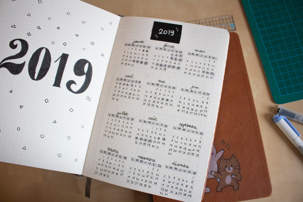 Mon setup pour bullet journal 2020 - Journal 2019
