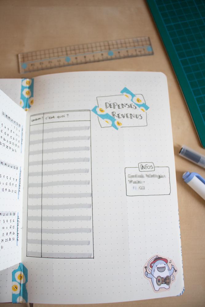 Mon setup pour bullet journal 2020 - Blogging - Dépenses et revenus