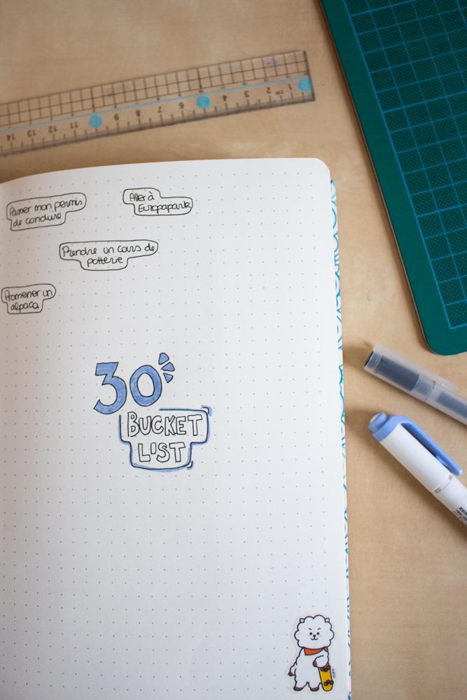 Mon setup pour bullet journal 2020 - 30 ans bucket list